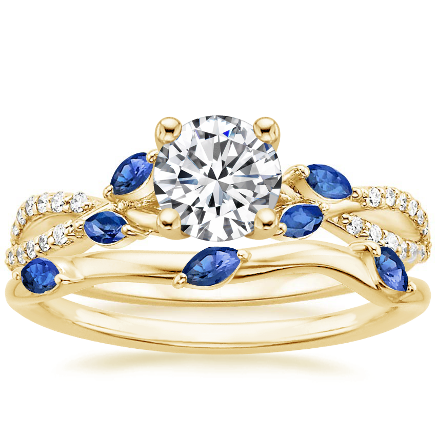 18K Yellow Gold Luxe Willow Sapphire and Diamond Ring (1/8 ct. tw.) with Willow Ring With Sapphire Accents