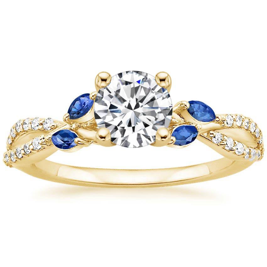 Round 18K Yellow Gold Luxe Willow Sapphire and Diamond Ring (1/8 ct. tw.)