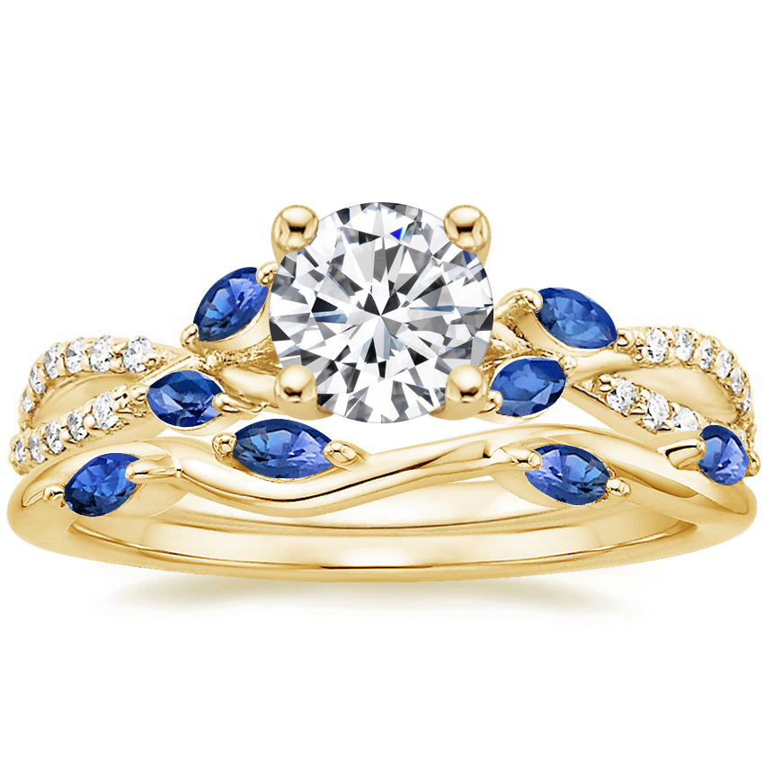 18K Yellow Gold Luxe Willow Sapphire and Diamond Ring (1/8 ct. tw.) with Winding Willow Sapphire Ring