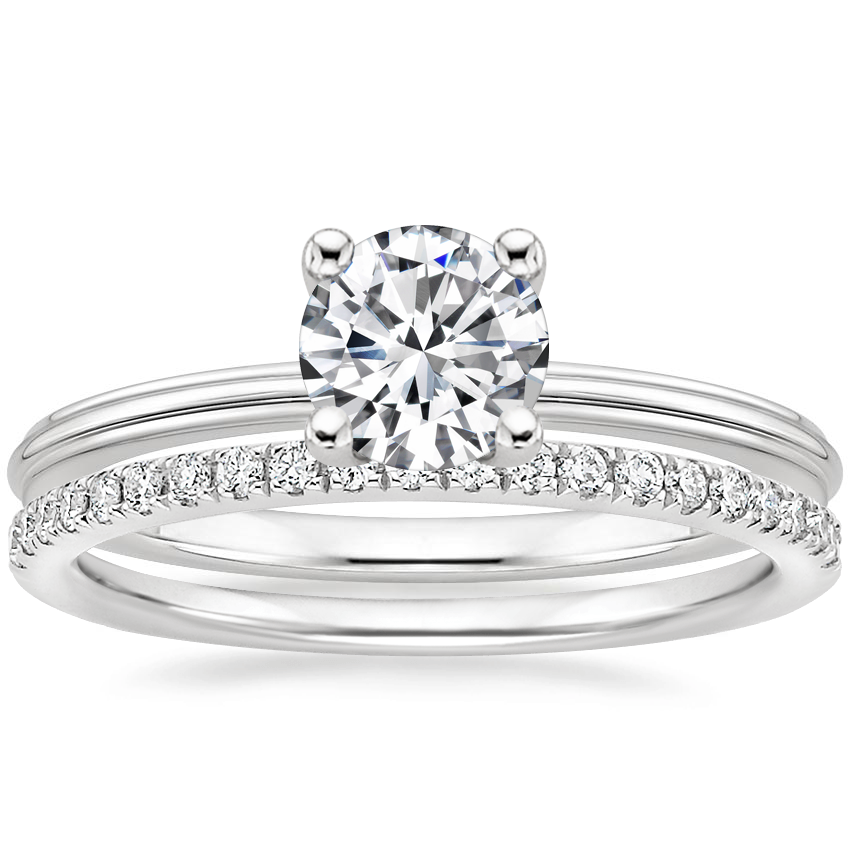 18K White Gold Freya Ring with Ballad Diamond Ring (1/6 ct. tw.)