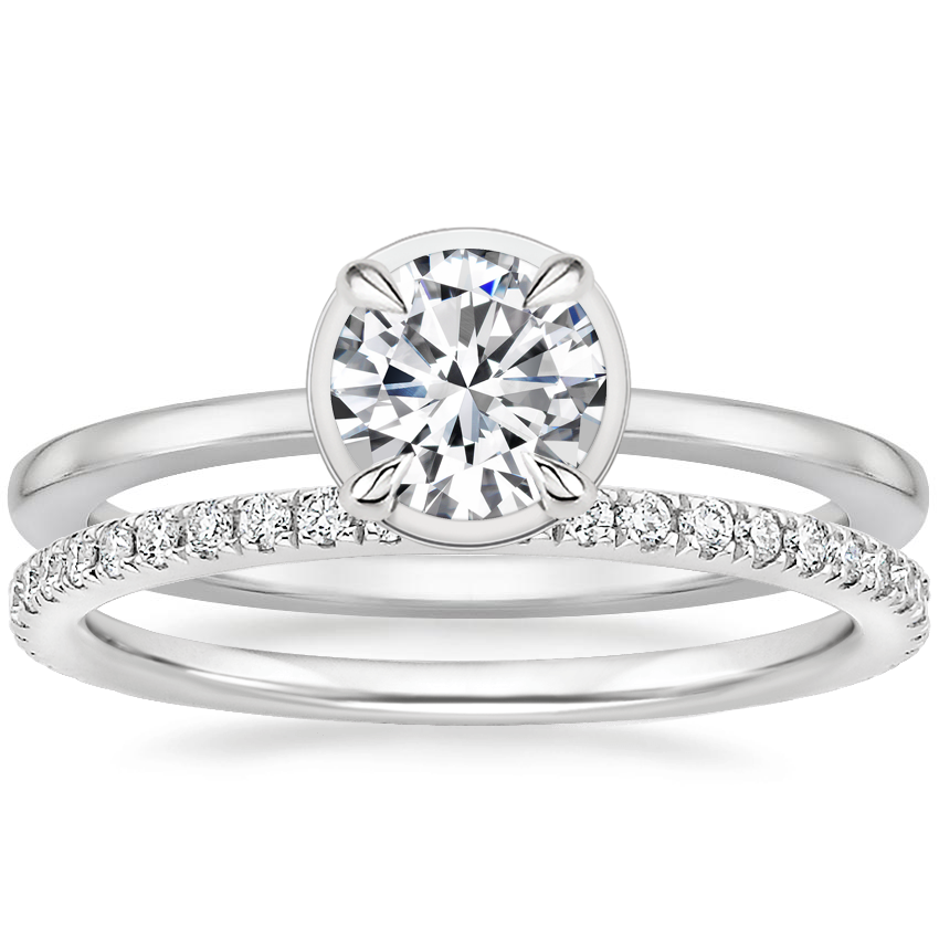 18K White Gold Devin Ring with Luxe Ballad Diamond Ring (1/4 ct. tw.)