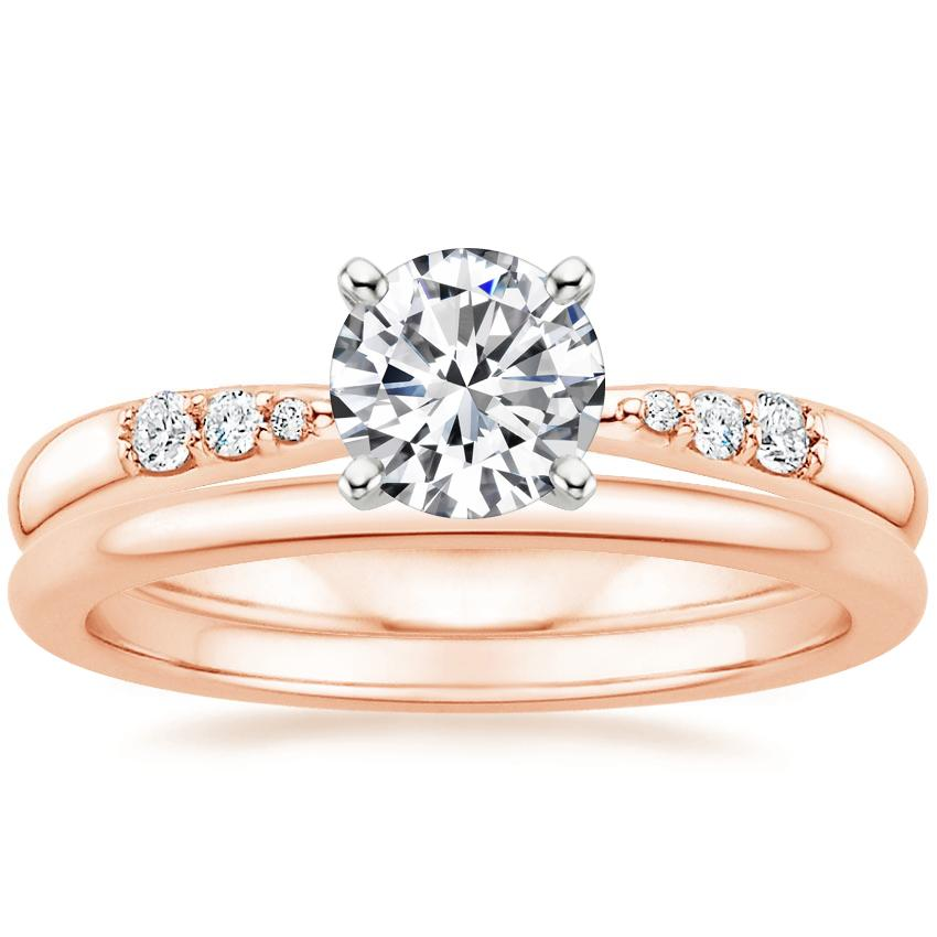 14K Rose Gold Lark Diamond Ring with Petite Comfort Fit Wedding Ring