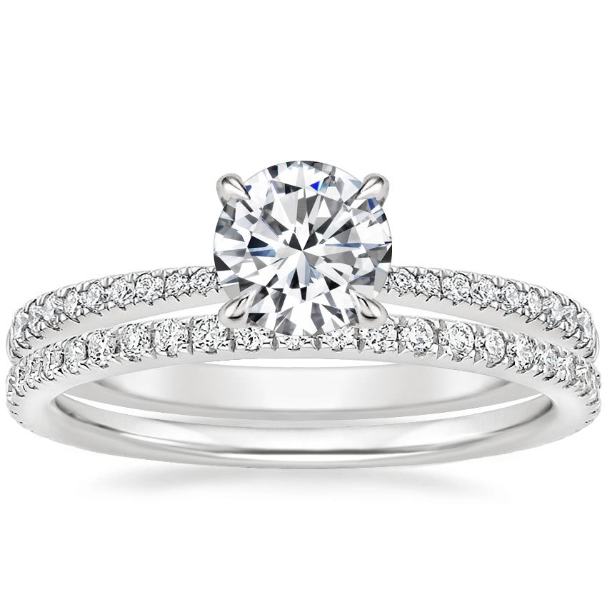 18K White Gold Elena Diamond Ring with Luxe Ballad Diamond Ring (1/4 ct. tw.)