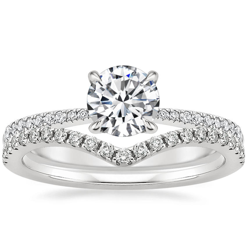 Platinum Elena Diamond Ring with Flair Diamond Ring (1/6 ct. tw.)