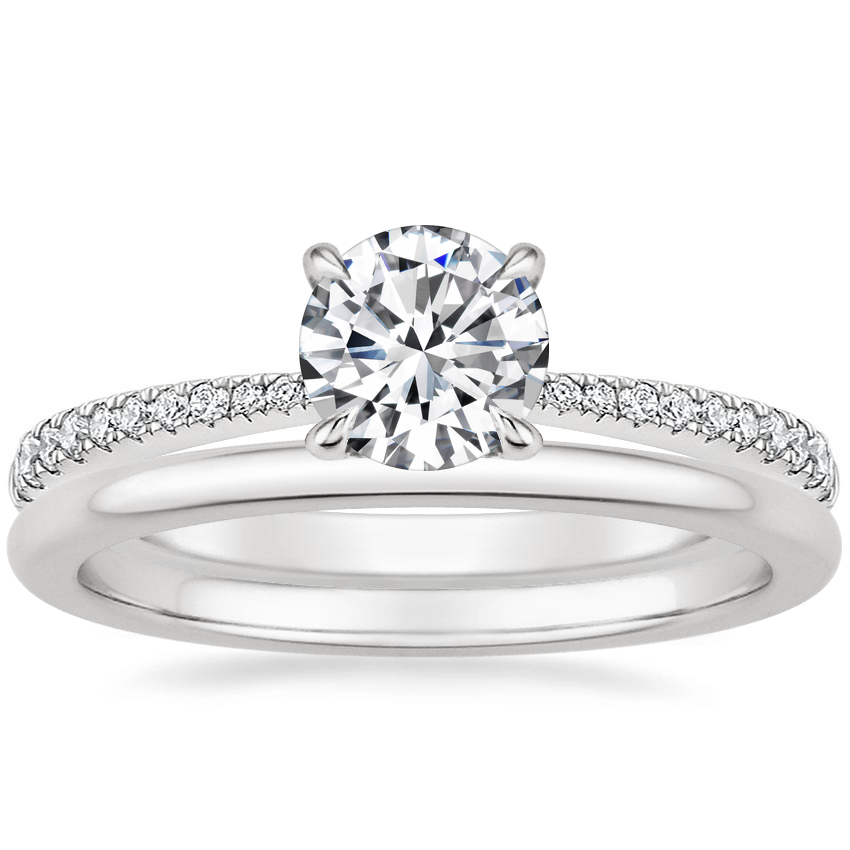 18K White Gold Elena Diamond Ring with Petite Comfort Fit Wedding Ring