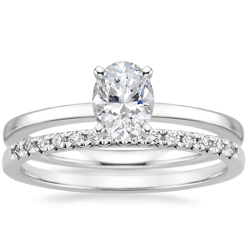 18K White Gold Petite Quattro Ring with Sonora Diamond Ring (1/8 ct. tw.)
