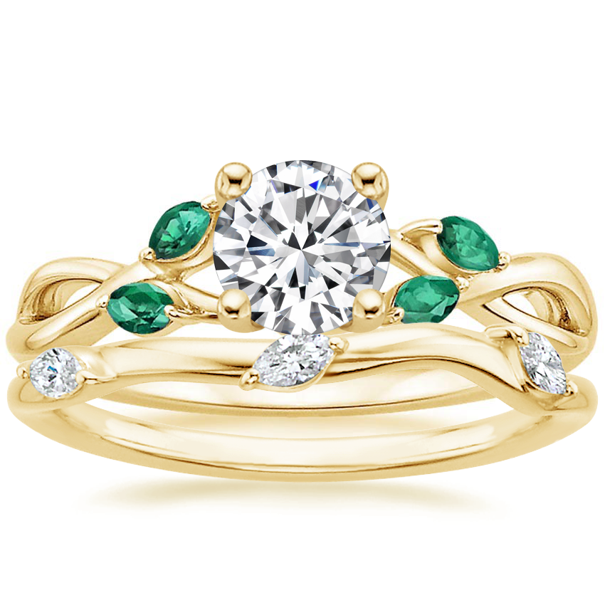 18K Yellow Gold Willow Ring With Lab Emerald Accents with Willow Diamond Ring (1/10 ct. tw.)