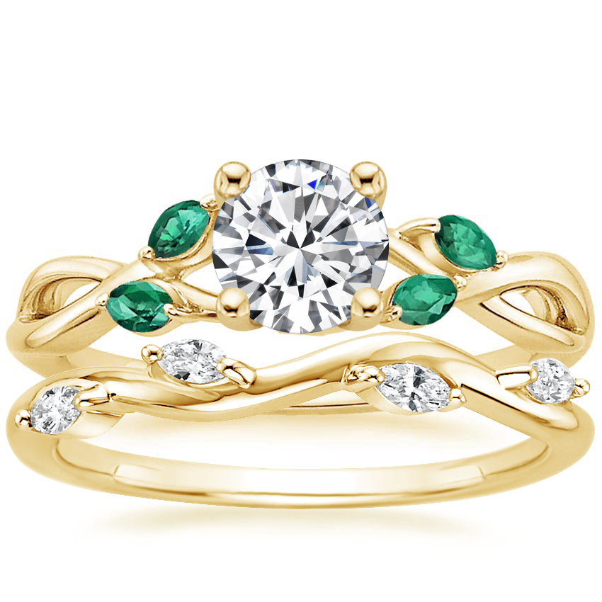 18K Yellow Gold Willow Ring With Lab Emerald Accents with Winding Willow Diamond Ring (1/8 ct. tw.)