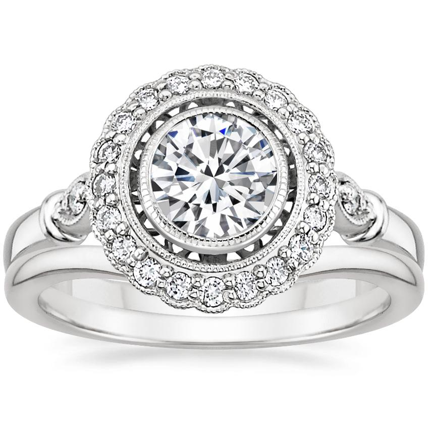 18K White Gold Bella Diamond Ring with Petite Curved Wedding Ring