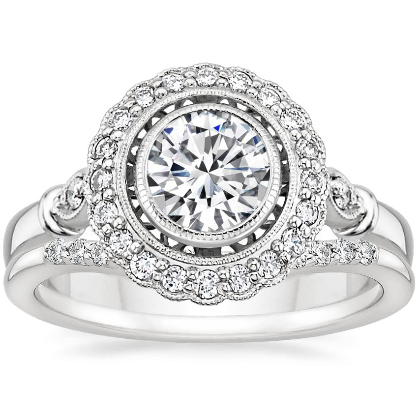 Platinum Bella Diamond Ring with Petite Curved Diamond Ring