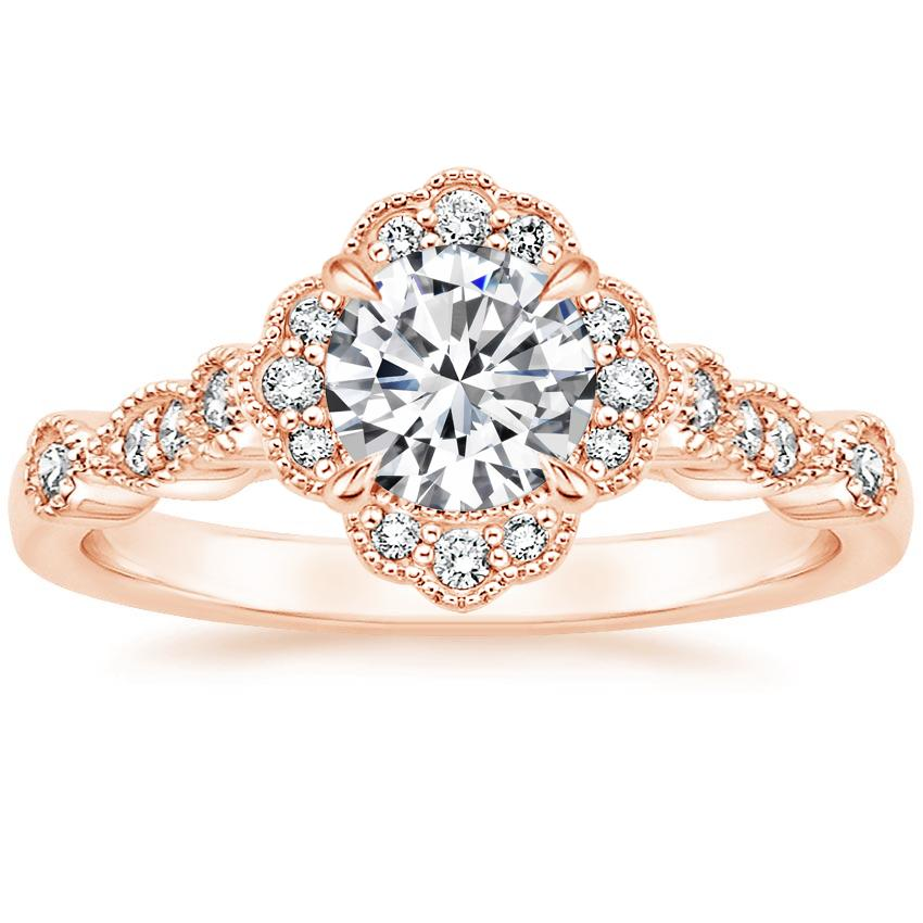 Round Vintage Style Halo Ring