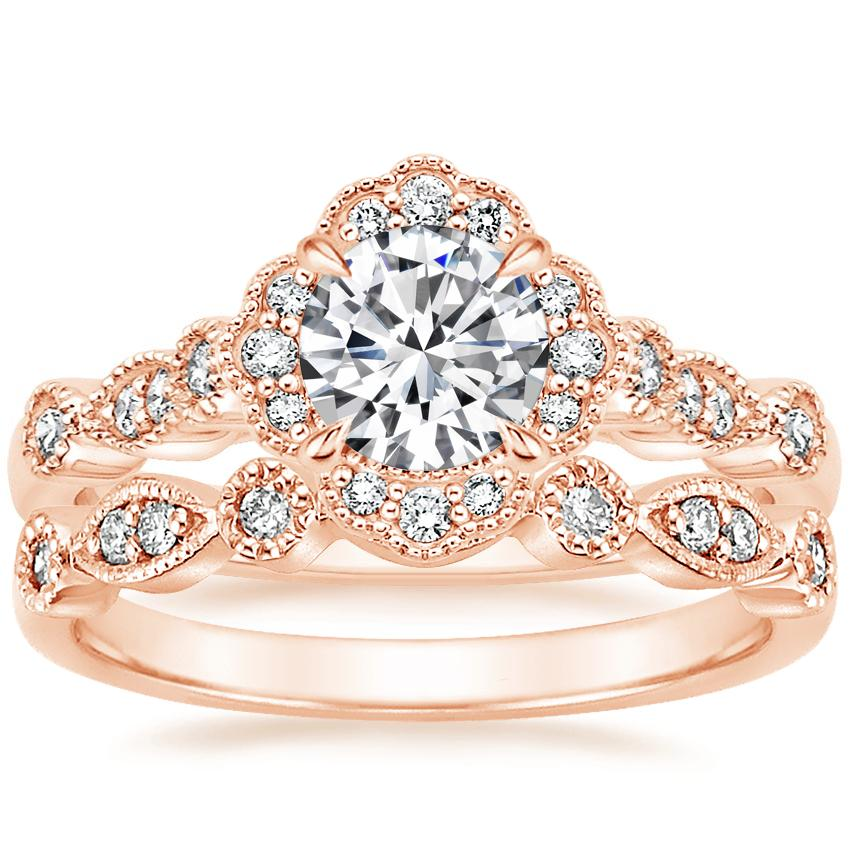 14K Rose Gold Tiara Halo Diamond Ring with Tiara Diamond Ring (1/10 ct. tw.)