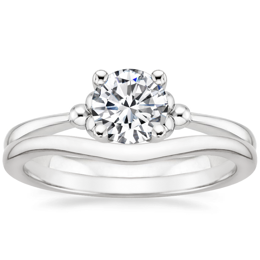 18K White Gold Soiree Ring with Petite Curved Wedding Ring