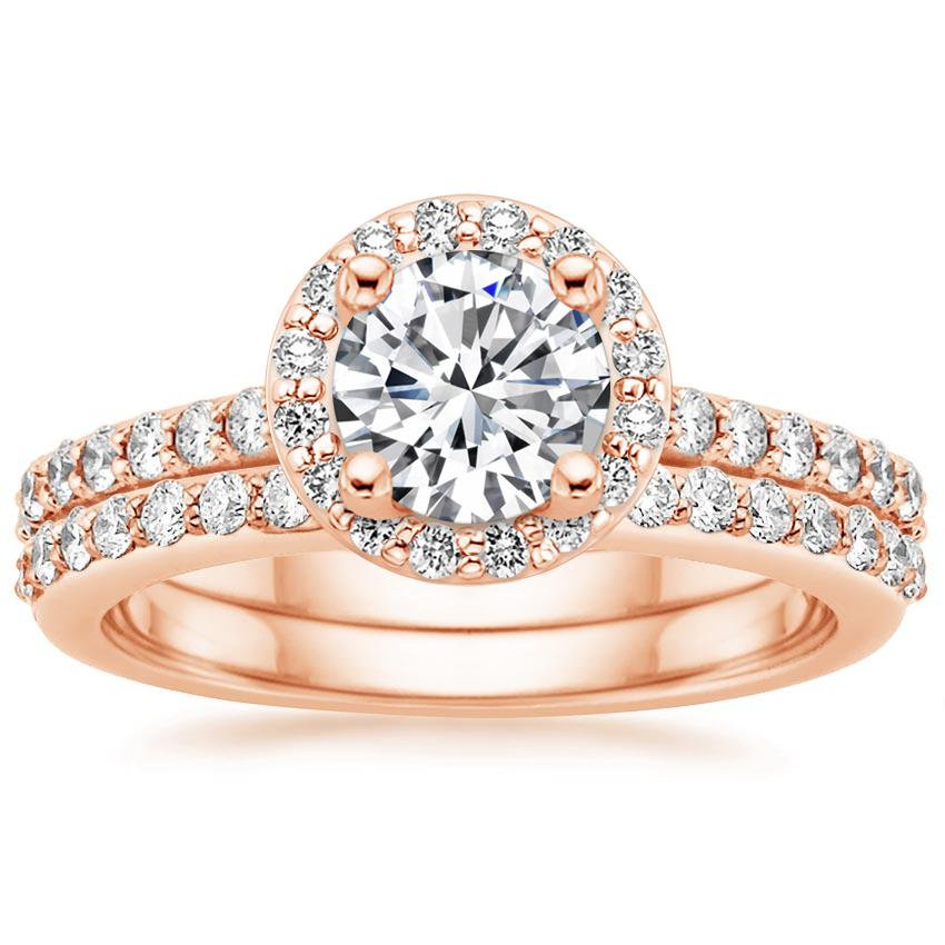 Rose Gold Halo Diamond Ring with Side Stones with Petite Shared Prong Diamond Ring