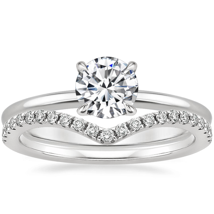 Platinum Everly Diamond Ring with Flair Diamond Ring (1/6 ct. tw.)