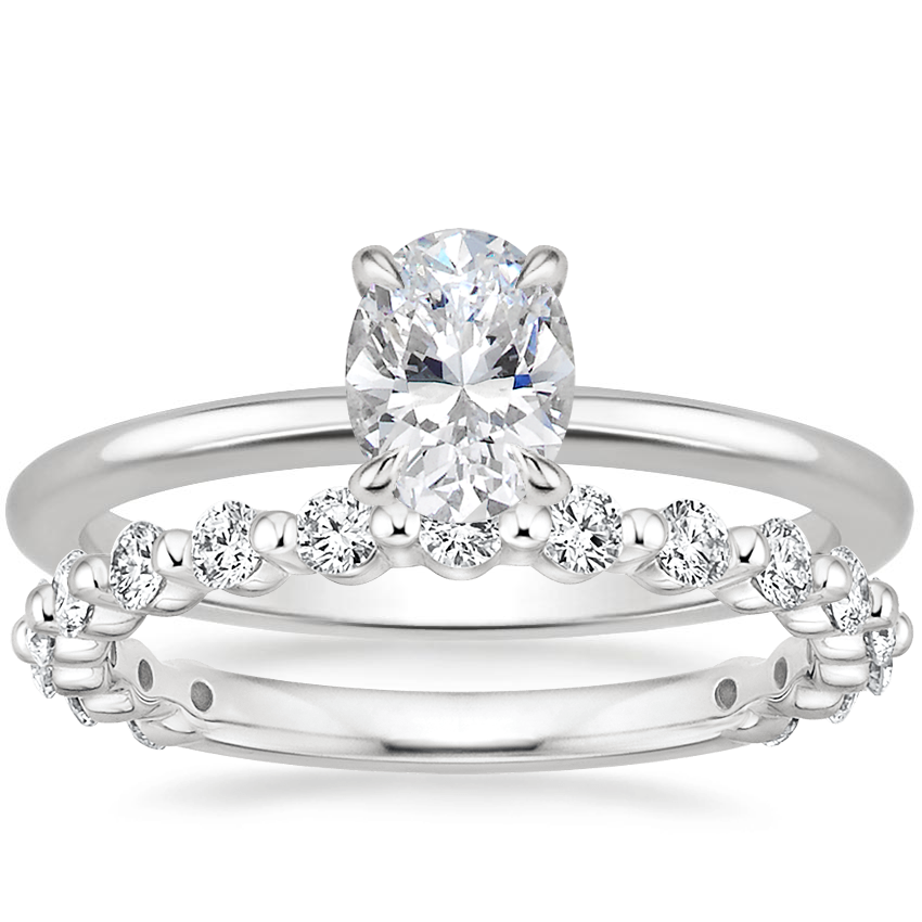 18K White Gold Everly Diamond Ring with Luxe Marseille Diamond Ring (1/2 ct. tw.)