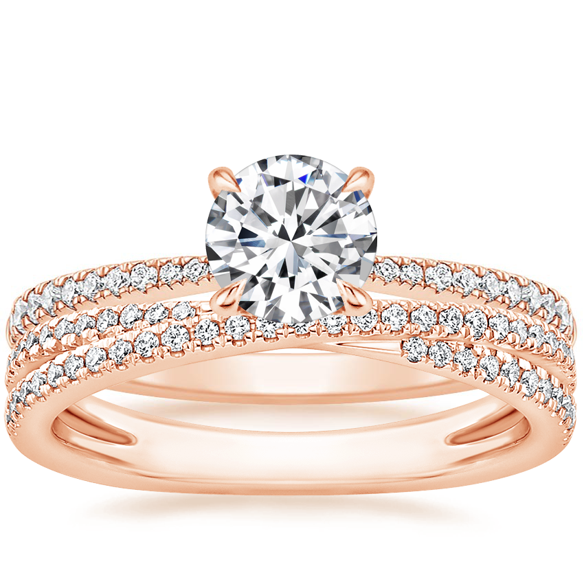 14K Rose Gold Elena Diamond Ring with Calypso Diamond Ring