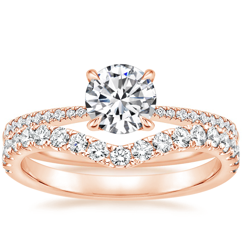 14K Rose Gold Elena Diamond Ring with Luxe Flair Diamond Ring (1/3 ct. tw.)