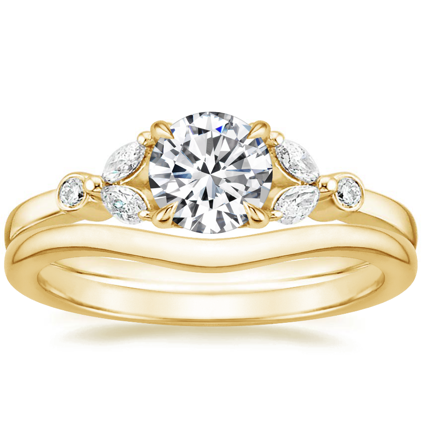 18K Yellow Gold Verbena Diamond Ring with Petite Curved Wedding Ring