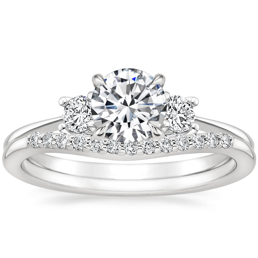 18K White Gold Adorned Selene Diamond Ring (1/4 ct. tw.) with Petite Curved Diamond Ring (1/10 ct. tw.)