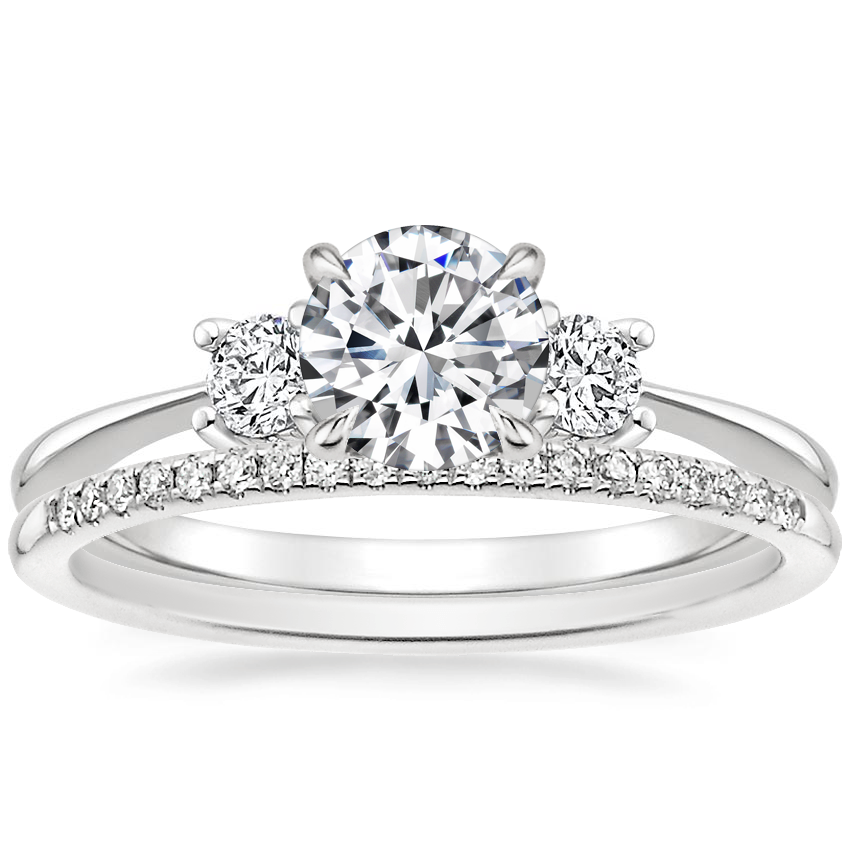 18K White Gold Adorned Selene Diamond Ring (1/4 ct. tw.) with Whisper Diamond Ring (1/10 ct. tw.)
