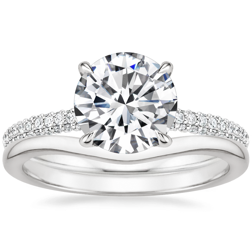 Platinum Valencia Diamond Ring (1/3 ct. tw.) with Petite Curved Wedding Ring