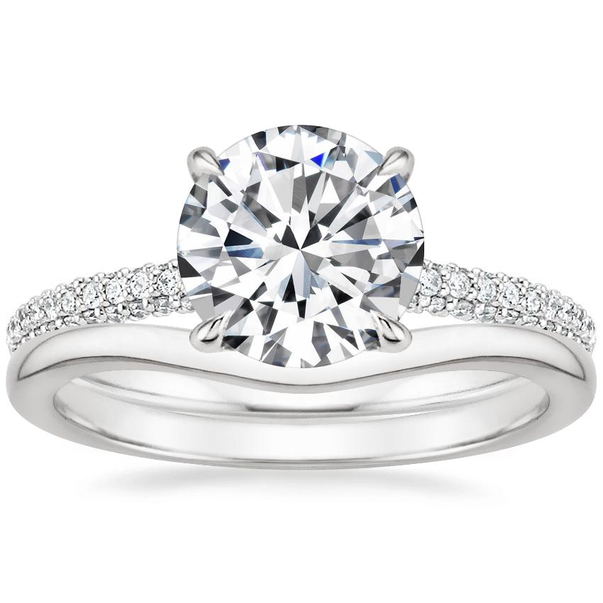 18K White Gold Valencia Diamond Ring (1/3 ct. tw.) with Petite Curved Wedding Ring