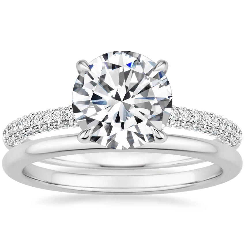 Platinum Valencia Diamond Ring with Petite Comfort Fit Wedding Ring