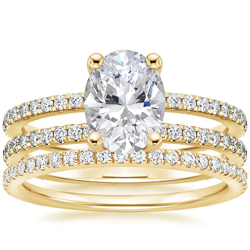 18K Yellow Gold Linnia Diamond Ring (1/2 ct. tw.) with Luxe Ballad Diamond Ring (1/4 ct. tw.)