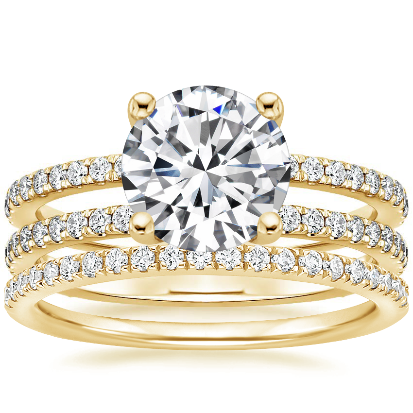18K Yellow Gold Linnia Diamond Ring with Ballad Diamond Ring (1/6 ct. tw.)