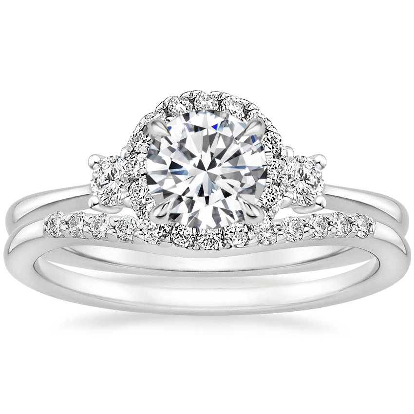 18K White Gold Selene Halo Diamond Ring (1/4 ct. tw.) with Petite Curved Diamond Ring (1/10 ct. tw.)