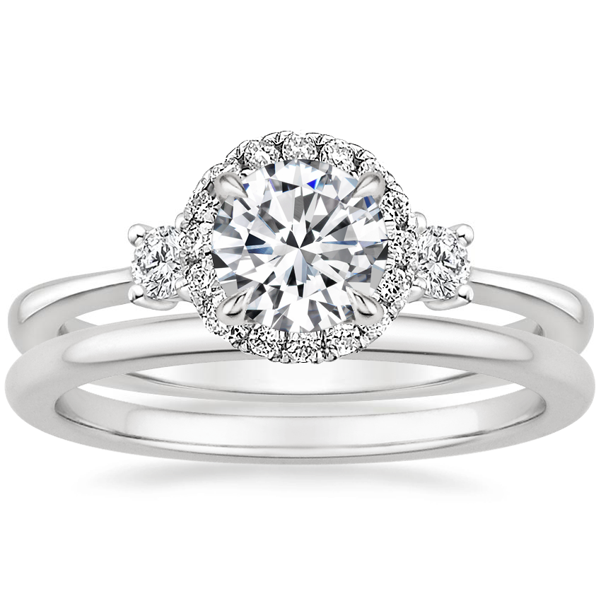 18K White Gold Selene Halo Diamond Ring (1/4 ct. tw.) with Petite Comfort Fit Wedding Ring