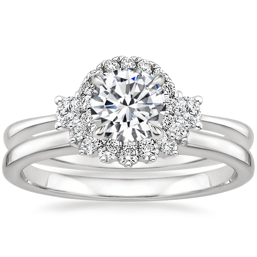 18K White Gold Selene Halo Diamond Ring (1/4 ct. tw.) with Crescent Diamond Ring