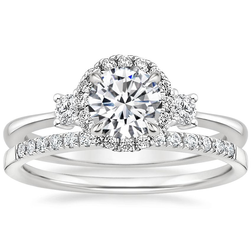 18K White Gold Selene Halo Diamond Ring (1/4 ct. tw.) with Petite Ballad Diamond Ring (1/10 ct. tw.)