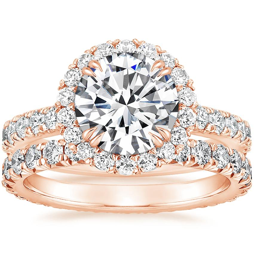 14K Rose Gold Luxe Sienna Halo Diamond Ring (3/4 ct. tw.) with Sienna Eternity Diamond Ring (7/8 ct. tw.)