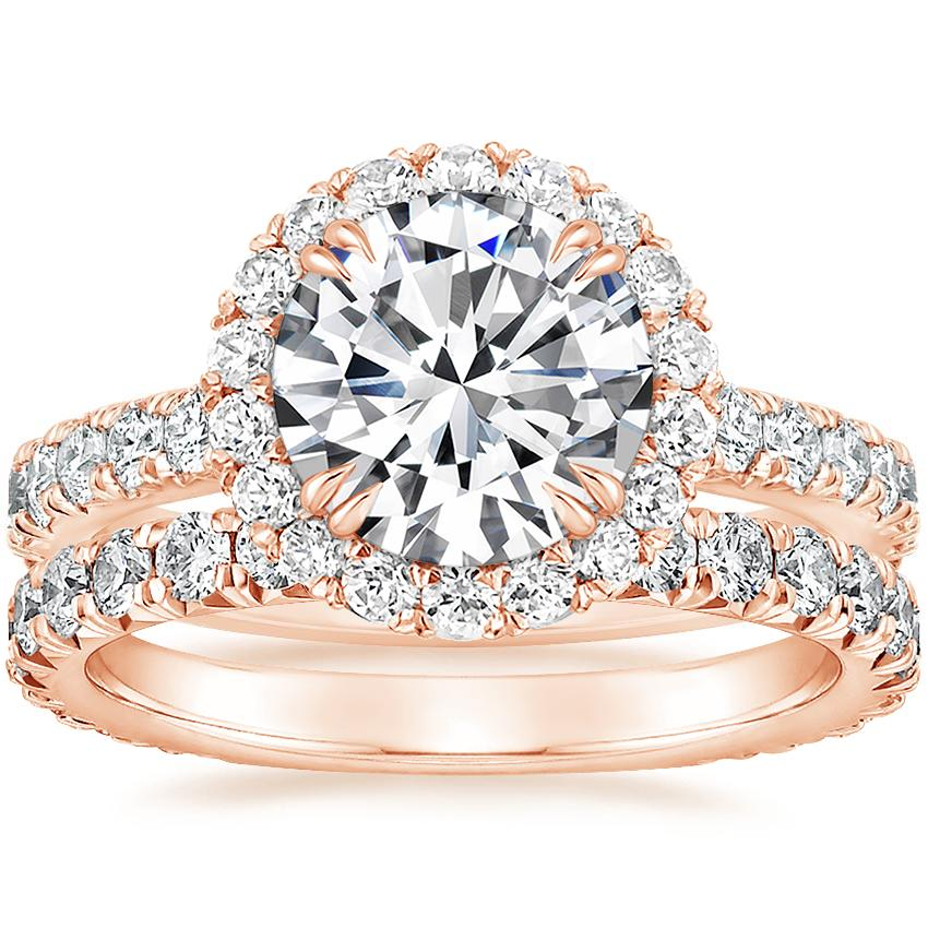 14K Rose Gold Luxe Sienna Halo Diamond Ring (3/4 ct. tw.) with Signature Luxe Sienna Diamond Ring (5/8 ct. tw.)