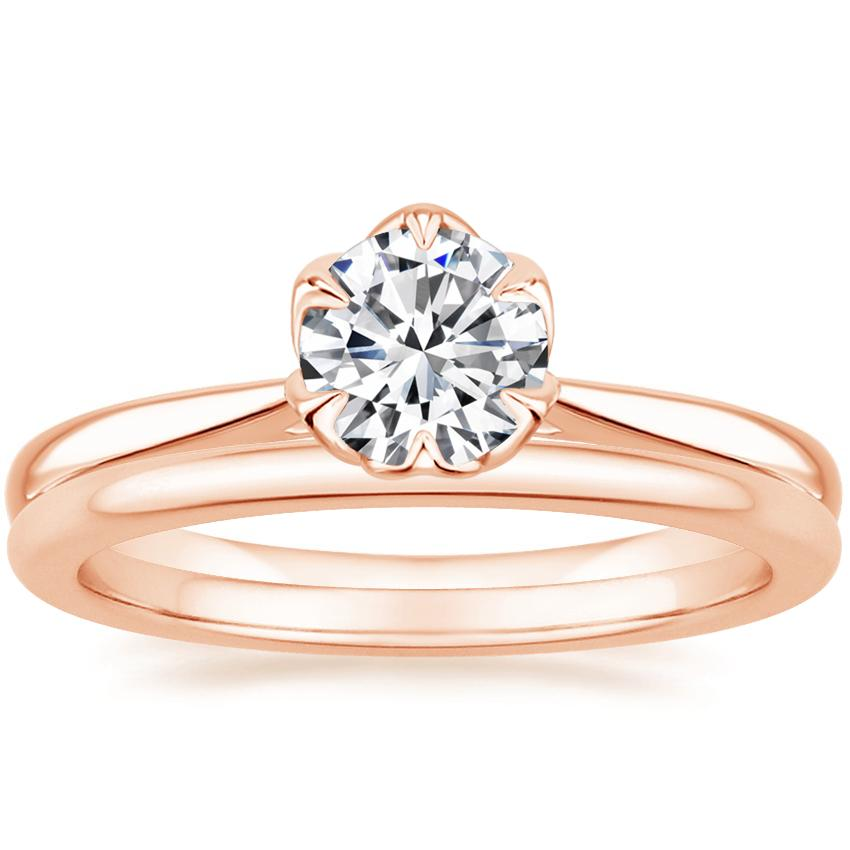 14K Rose Gold Caliana Ring with Petite Comfort Fit Wedding Ring