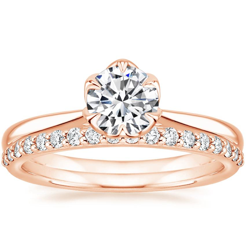 14K Rose Gold Caliana Ring with Petite Shared Prong Diamond Ring (1/4 ct. tw.)