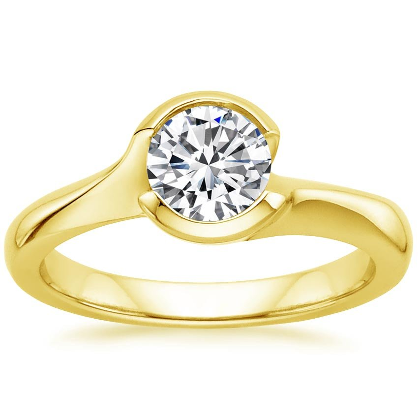 18K Yellow Gold Cascade Ring, top view