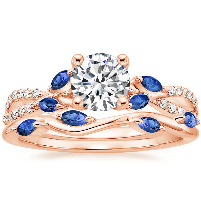 14K Rose Gold Luxe Willow Sapphire and Diamond Ring (1/8 ct. tw.) with Winding Willow Sapphire Ring