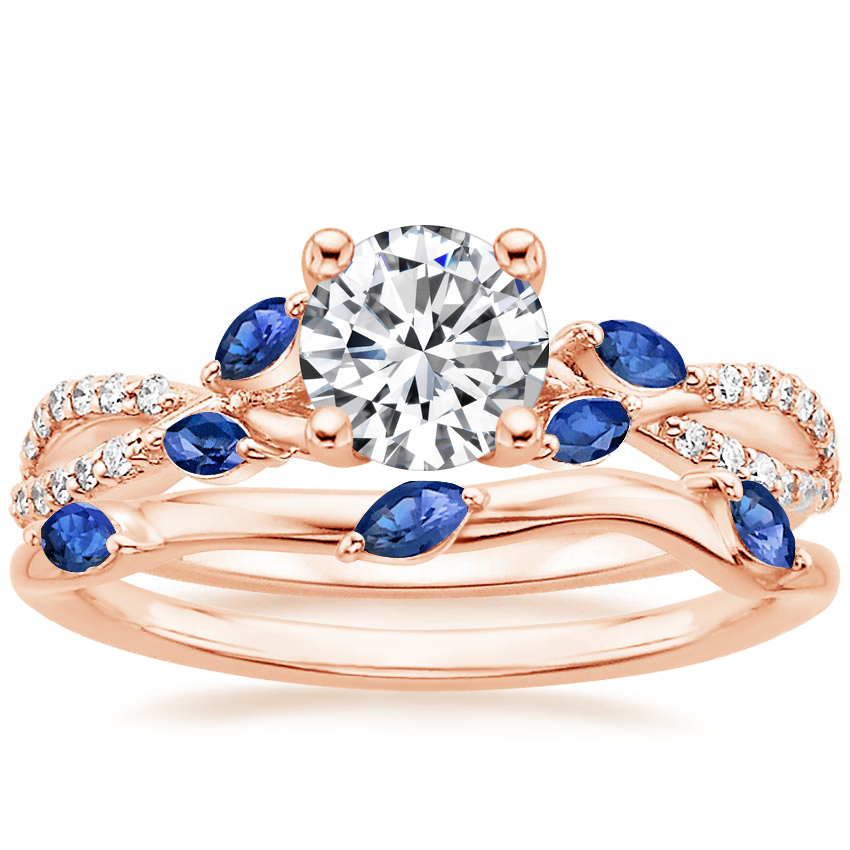 14K Rose Gold Luxe Willow Sapphire and Diamond Ring (1/8 ct. tw.) with Willow Ring With Sapphire Accents