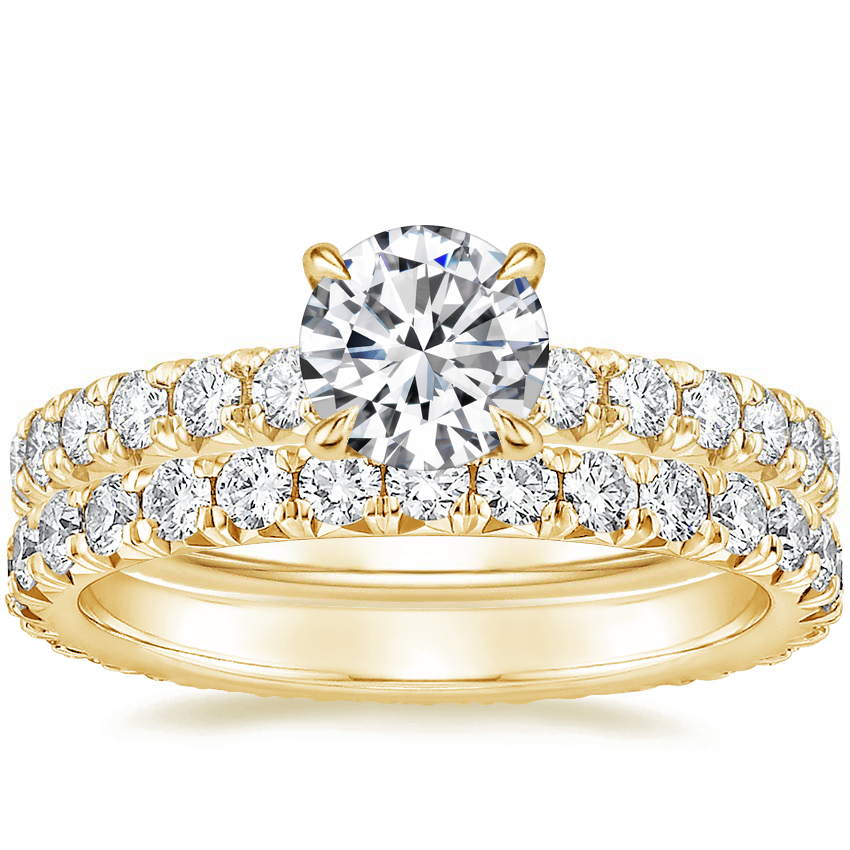 18K Yellow Gold Olympia Diamond Ring with Sienna Eternity Diamond Ring (7/8 ct. tw.)