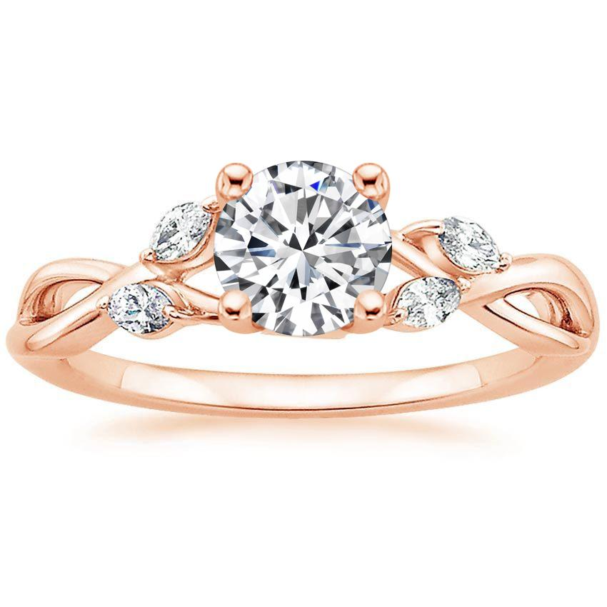 14K Rose Gold Willow Diamond Ring, top view