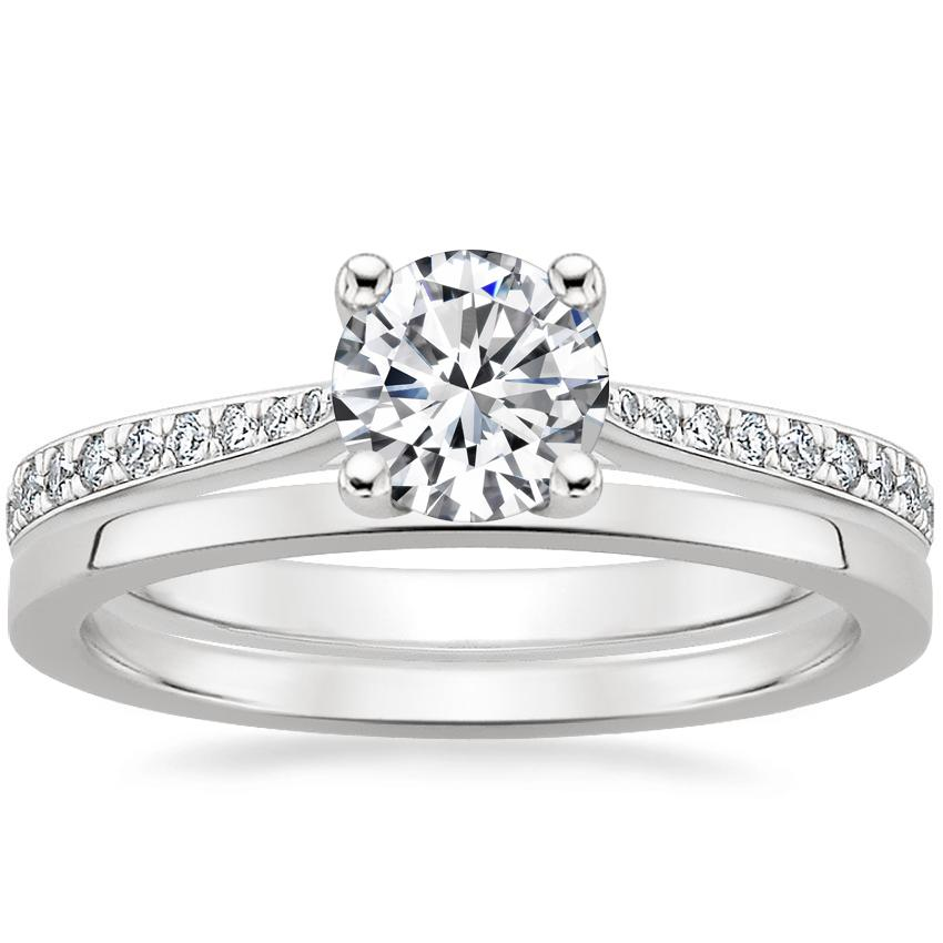 Platinum Geneva Diamond Ring with Petite Quattro Wedding Ring