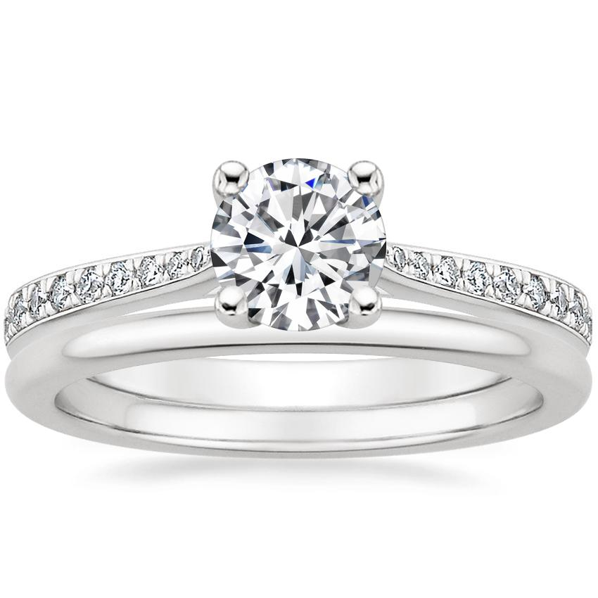 18K White Gold Geneva Diamond Ring with Petite Comfort Fit Wedding Ring