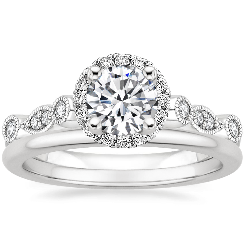 18K White Gold Tiara Halo Diamond Ring (1/4 ct. tw.) with Petite Comfort Fit Wedding Ring
