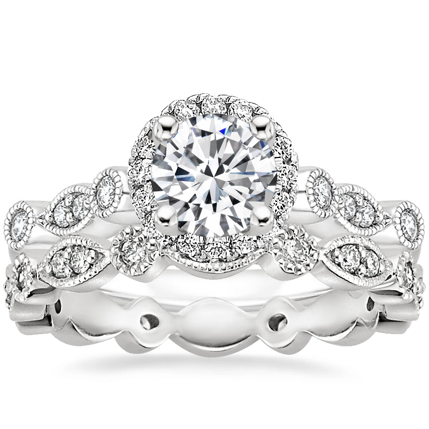18K White Gold Tiara Halo Diamond Ring (1/4 ct. tw.) with Tiara Eternity Diamond Ring (1/4 ct. tw.)