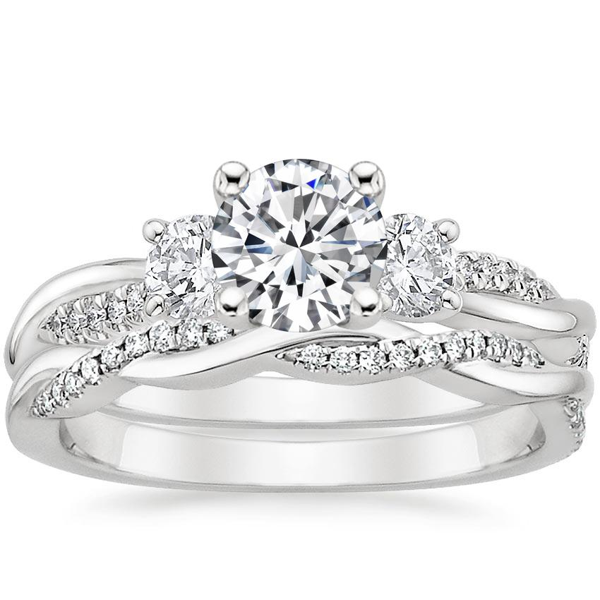 18K White Gold Three Stone Petite Twisted Vine Diamond Bridal Set (1/2 ct. tw.)