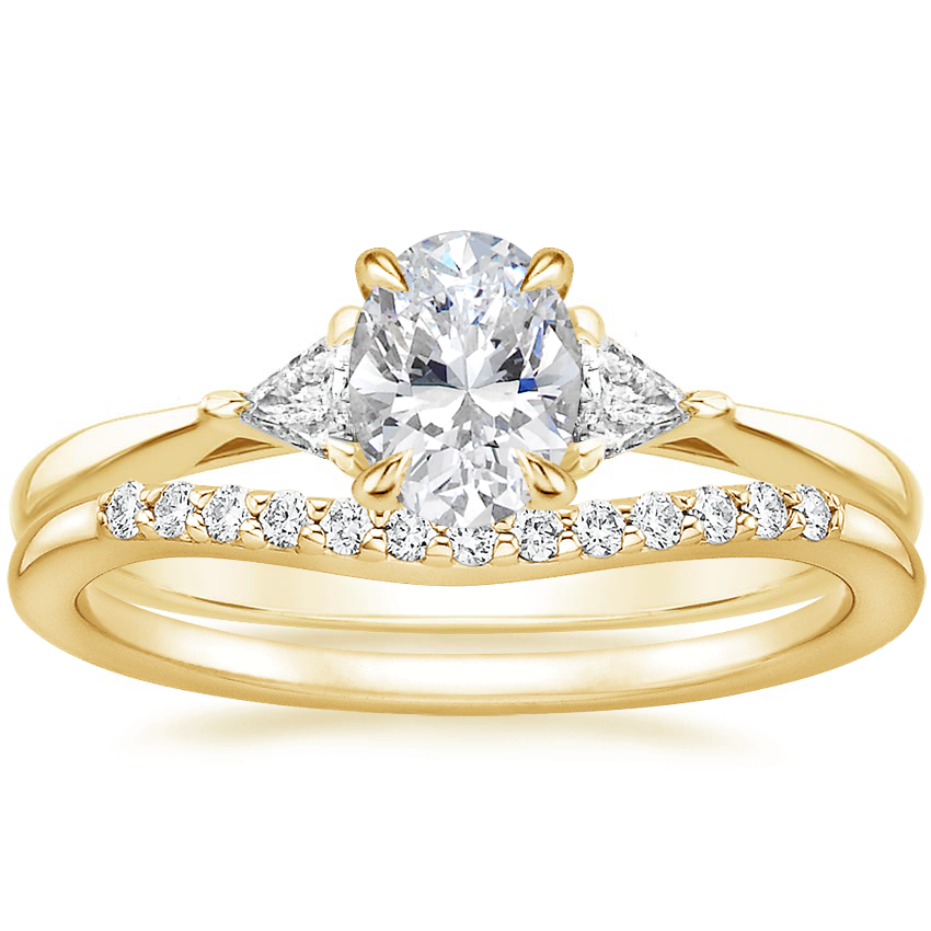 18K Yellow Gold Esprit Diamond Ring with Petite Curved Diamond Ring (1/10 ct. tw.)