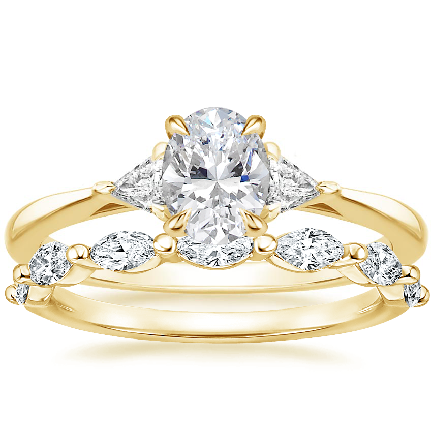 18K Yellow Gold Esprit Diamond Ring with Joelle Diamond Ring